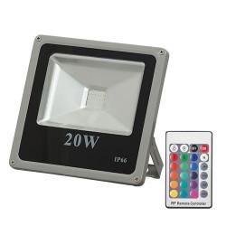 Proiector LED RGB 20W slim cu telecomanda